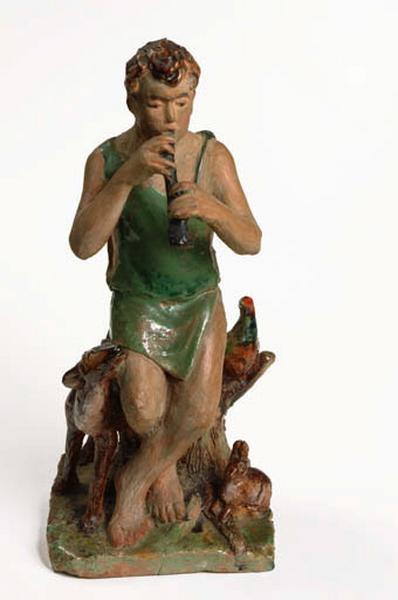 statuette : berger jouant du pipeau