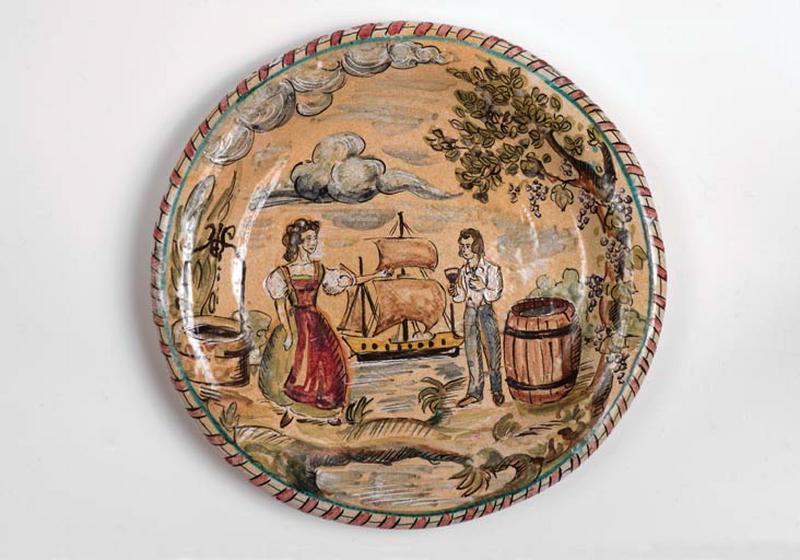 ensemble de 3 assiettes : bord de Loire ; Conversion de saint Hubert ; Allégorie de l'agriculture