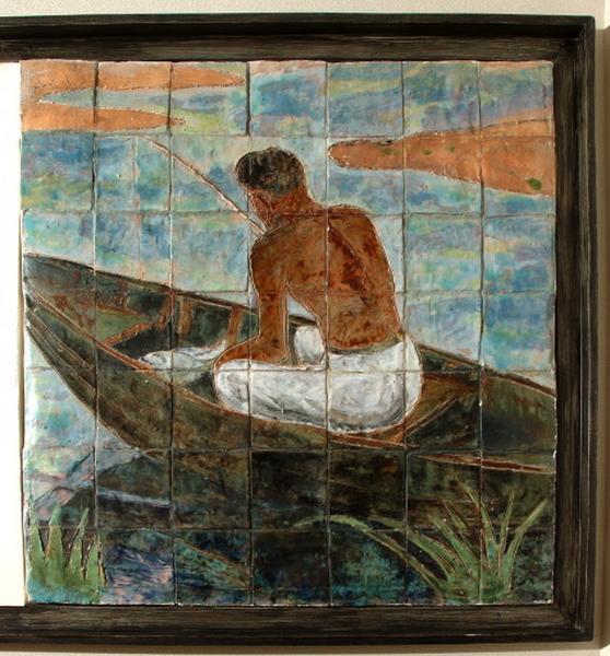 ensemble de 2 panneaux de carrelage mural : pêcheur de brochet et laboureur