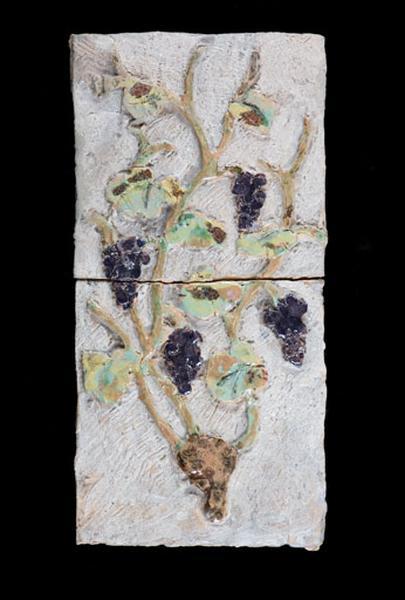 ensemble de 2 carreaux : pied de vigne