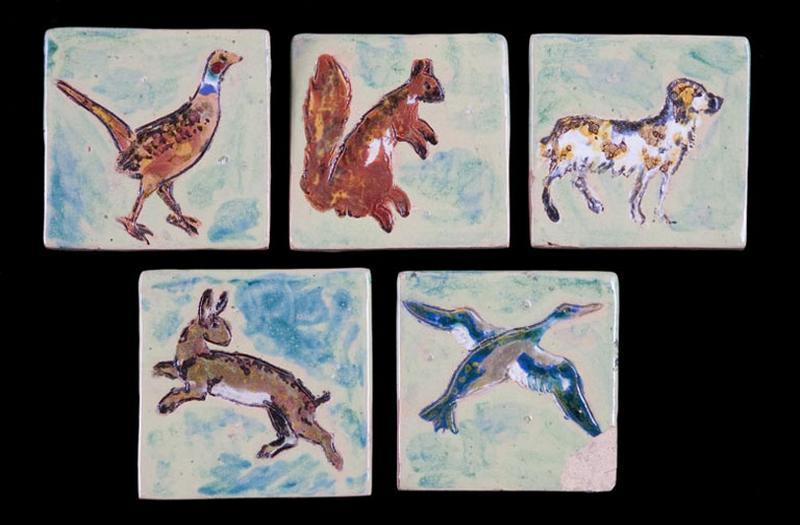 ensemble de 5 carreaux : animaux de Sologne