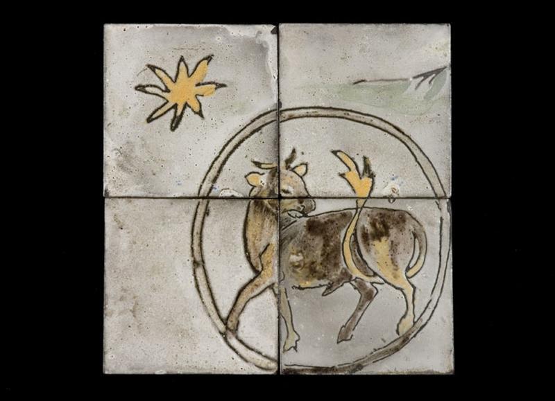 ensemble de 34 carreaux : les signes du zodiaque