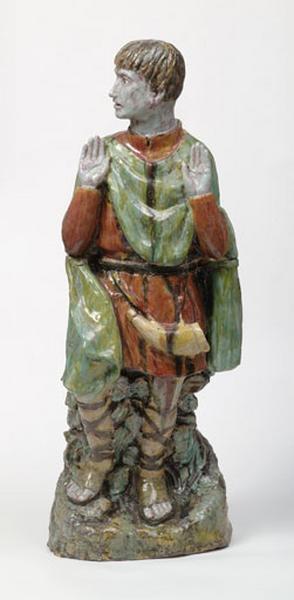 ensemble décoratif : statue de saint Hubert, luminaires d'applique et relief