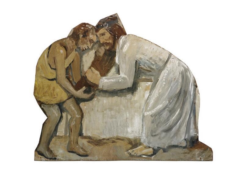 peinture : Jésus est chargé de sa croix (IIème station de chemin de croix)