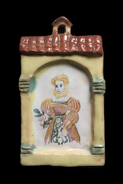 plaque décorative : femme en costume Renaissance