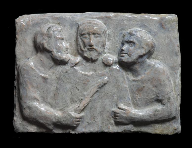 ensemble de 2 bas-reliefs : Dérision du Christ