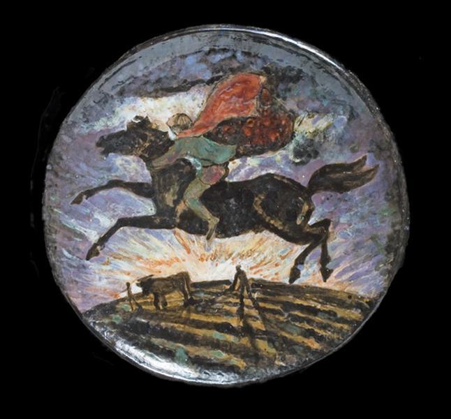 plat décoratif : le cavalier et le laboureur