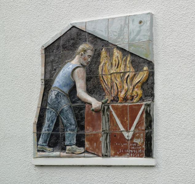 plaque décorative : maréchal-ferrant ; plaque de rue