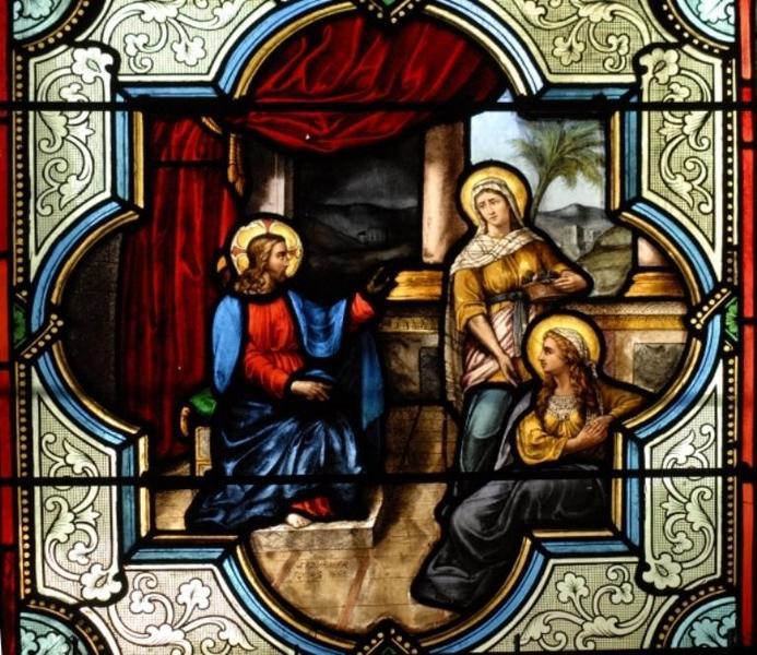 Verrière représentant l'hospitalité de Marthe et de Marie de Béthanie