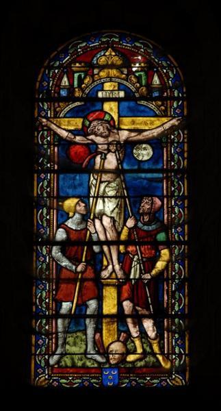 3 verrières représentant la Crucifixion avec la Vierge et saint Jean l'évangéliste