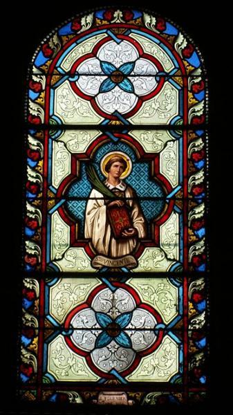 2 verrières mixtes figurant saint Loup et saint Vincent