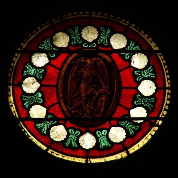 Verrière représentant sainte Marthe, saint Georges et saint Michel