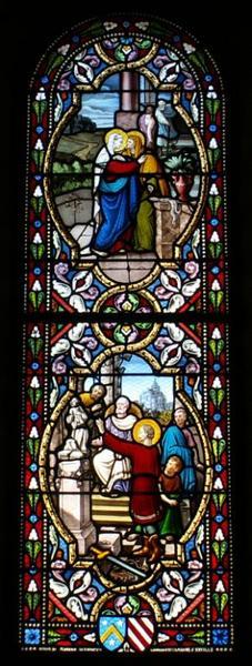 Verrière représentant saint Marcel brisant les idoles et la Visitation