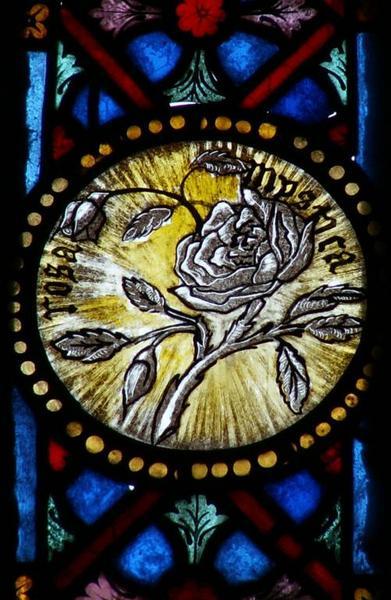 Verrière représentant des symboles des litanies de la Vierge