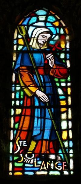 4 verrières représentant saint Jean-Marie Vianney, saint Joseph, sainte Solange et sainte Bernadette