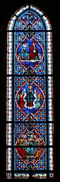 Verrière représentant trois Mystères glorieux du Rosaire