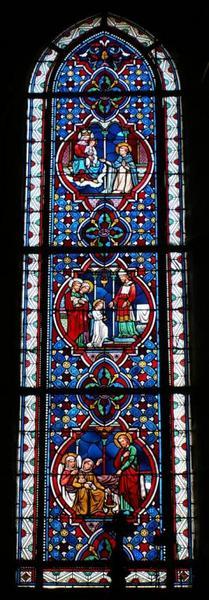 Verrière représentant des épisodes de la Vie de la Vierge et le don du Rosaire à saint Dominique