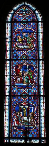 Verrière représentant le Concile de Constance reconnaissant le culte de saint Joseph, et saint Etienne et sainte Gisèle de Hongrie