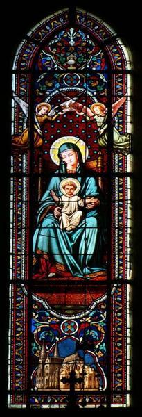 Verrière représentant la Vierge à l'Enfant et l'église Saint-André de Châteauroux