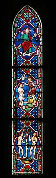 Verrière représentant le Péché originel, le Baptême du Christ et le Christ trônant