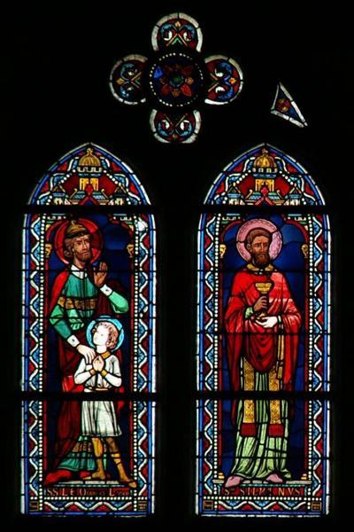 Verrière représentant saint Léocade, saint Ludre et saint Sylvain