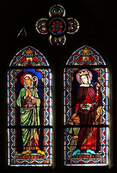 Verrière représentant sainte Eustadiole et sainte Élisabeth de Hongrie