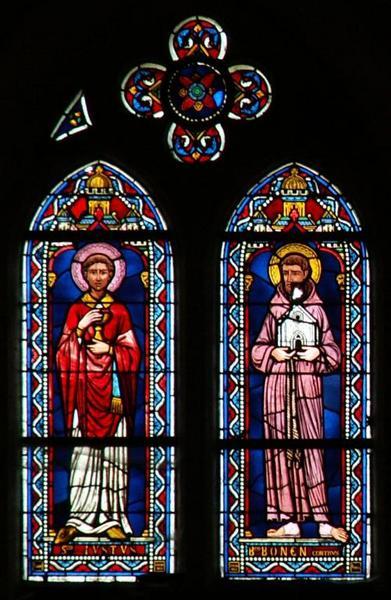 Verrière représentant saint Just de Lyon et le frère Bonencontre
