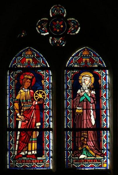 Verrière représentant sainte Catherine et la bienheureuse Jeanne-Marie de Maillé