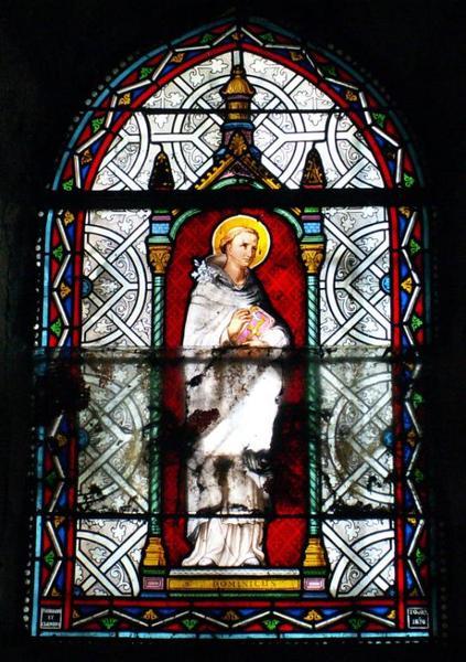 4 verrières représentant saint Dominique, saint François, saint Ignace de Loyola et l'ange Gabriel