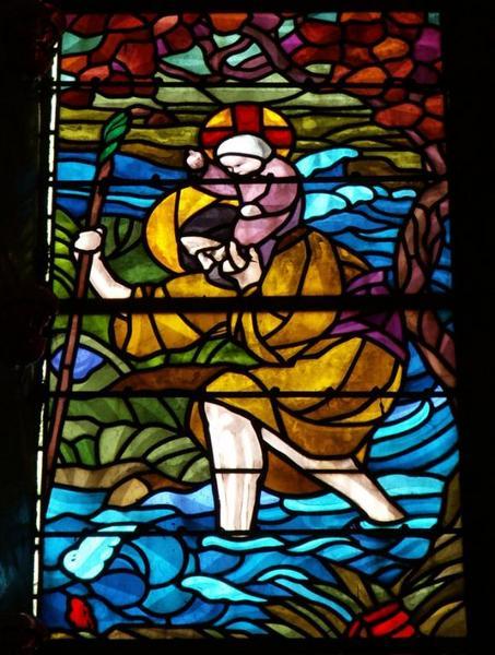 Verrière représentant des épisodes de la vie de saint Christophe