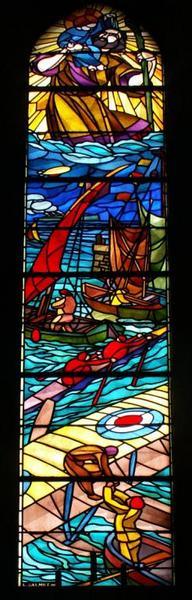 Verrière représentant saint Christophe protégeant les transports maritimes et aériens