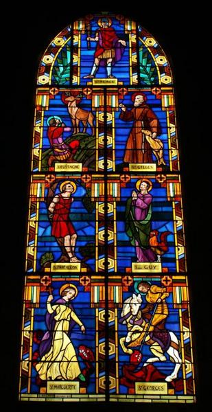 Verrière représentant les saints auxiliateurs