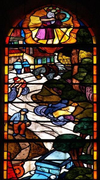 Verrière représentant saint Christophe protégeant les hommes des accidents de transport