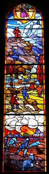 Verrière représentant saint Christophe protégeant les hommes pratiquant des activités dangereuses et les soldats