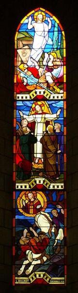 Verrière représentant la Résurrection, l'Ascension et l'Apparition du Christ sur le chemin de Damas