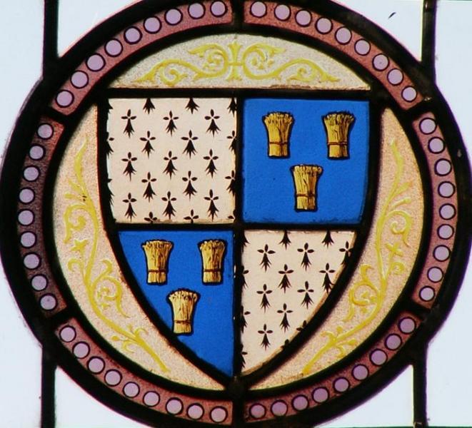 Verrière aux armes des cantons de Saint-Christophe-en-Bazelle, Sainte-Sévère, Saint-Gaultier et Tournon-Saint-Martin