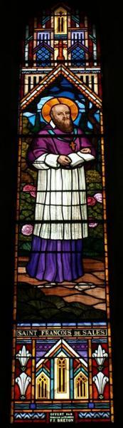 6 verrières figurant saint François de Sales, la Vierge et saint Jean, Notre-Dame de Chœurs, la Sainte Image de Bommiers, saint Vincent et sainte Solange
