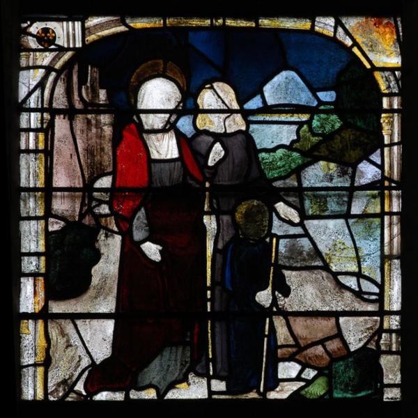 Verrière représentant le martyre de saint Cyr et de sainte Julitte