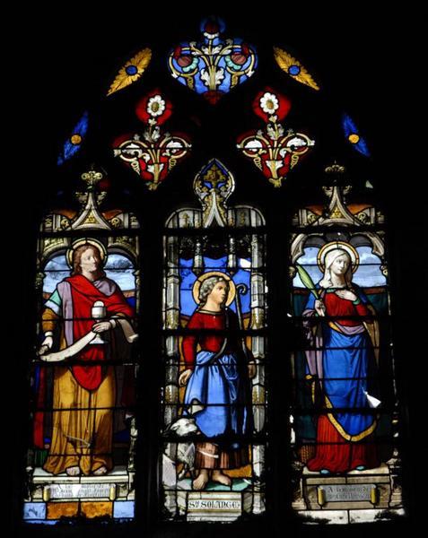 Verrière représentant sainte Solange, sainte Lucie et saint Jean