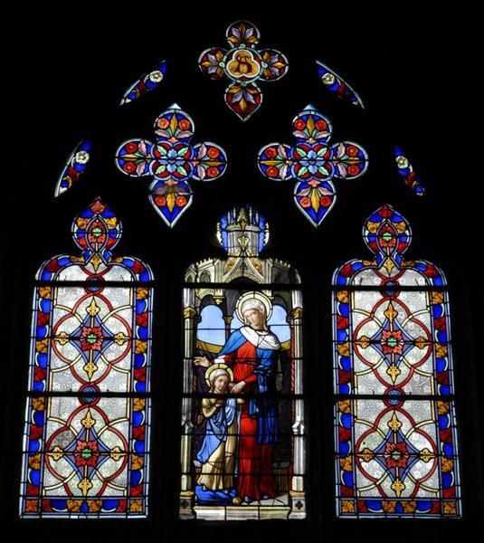 Verrière représentant sainte Anne éduquant la Vierge