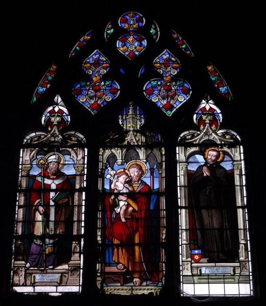 Verrière représentant saint Joseph, saint Paterne et le bienheureux César de Bus