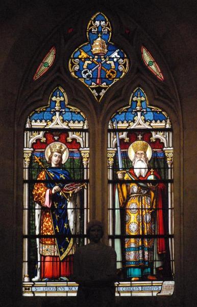 Verrière représentant saint Louis et saint Charlemagne