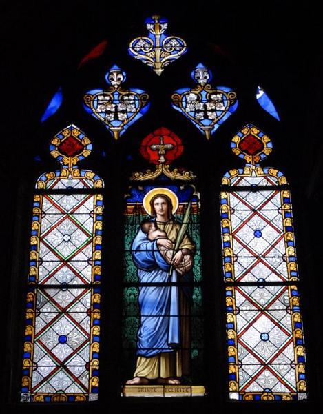 3 verrières représentant sainte Félicité, sainte Marguerite et saint Augustin