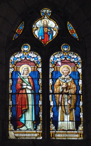 Verrière représentant sainte Justine et saint Valentin