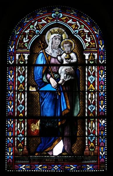Verrière représentant la Vierge à l'Enfant