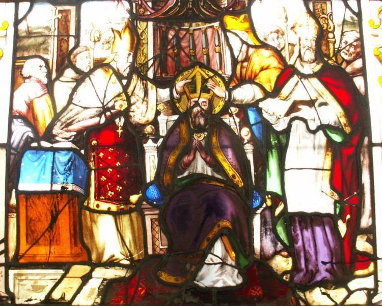 Verrière représentant la vie d'un saint évêque