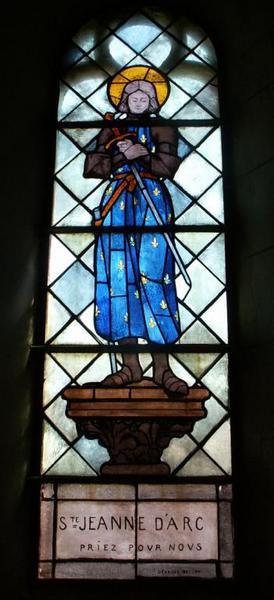 4 verrières figurant saint Pierre, sainte Jeanne d'Arc, saint Blaise et sainte Radegonde