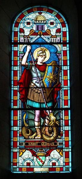 Verrière représentant saint Georges terrassant le dragon