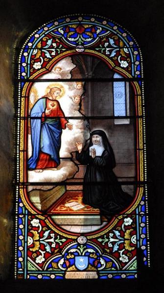 Verrière représentant l'apparition du Sacré-Coeur à Marguerite-Marie Alacoque