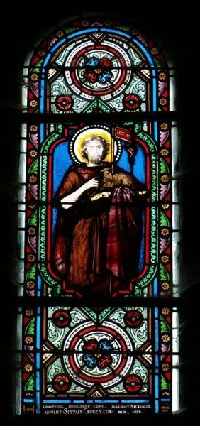 4 verrières représentant saint Jean-Baptiste, saint Sébastien, sainte Solange et un saint évêque